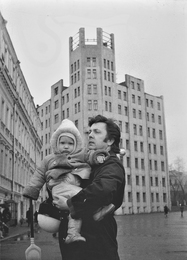 Ilya Glazunov with His Son Ivan near of the Studio in the Kalashny Lane. Moscow