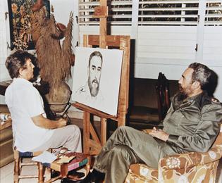 Ilya Glazunov Painting a portrait of Fidel Castro
