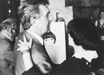 Ilya Glazunov and French Singer Mireille Mathieu near Her Portrait. Moscow