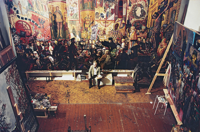 "In the Studio at Work on the Painting ""The Devastation of the Church on Easter night"". Moscow"