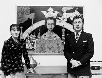 Ilya Glazunov with His Wife Nina Vinogradova-Benois at the Exhibition in West Berlin