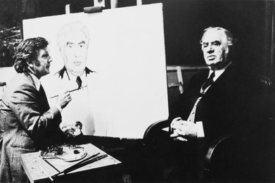 Ilya Glazunov Painting a Portrait of the Composer A. Khachaturian. Moscow