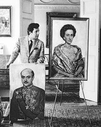 Илья Глазунов после окончания работы над портретом посла Дании в СССР Хольтена Эггерта и его супруги. Копенгаген