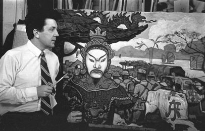 "Ilya Glazunov Is in the Studio at Work on the Painting ""Awakened East"""