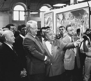 President of Russia B.N. Yeltsin and Moscow Mayor Y.M. Luzhkov at the Exhibition of Works of I.S. Glazunov. Moscow