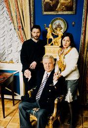 Илья Глазунов с сыном Иваном и дочерью Верой