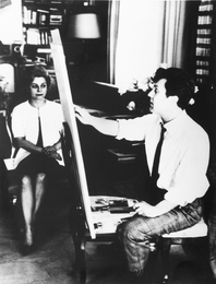 Ilya Glazunov and Giulietta Masina While Working on Portrait of the Actress