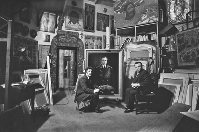 Ilya Glazunov at Work on the Portrait of the Minister of Internal Affairs of the USSR N. Shchelokov in His Studio. Moscow
