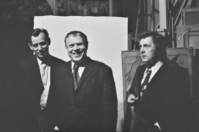 Ученый-историк П.Н. Решетов, писатель В.А. Солоухин, И.С. Глазунов в мастерской художника. Москва